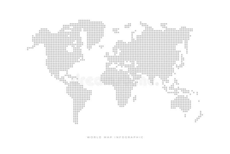 Mapa do mundo político pontilhado simples Molde com os pontos cinzentos isolados no fundo branco ilustração royalty free