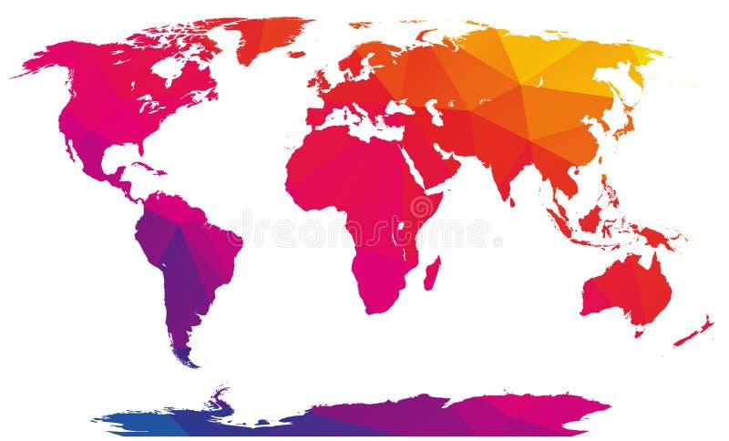 Mapa do mundo poligonal do sumário do mosaico ilustração royalty free