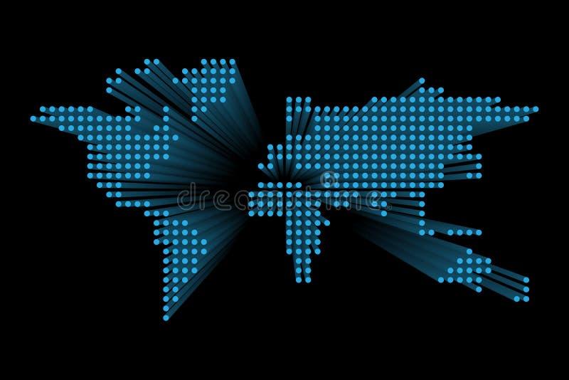 Mapa do mundo pontilhado moderno Projeto futurista azul da tecnologia no fundo escuro Illustratuon do vetor ilustração do vetor