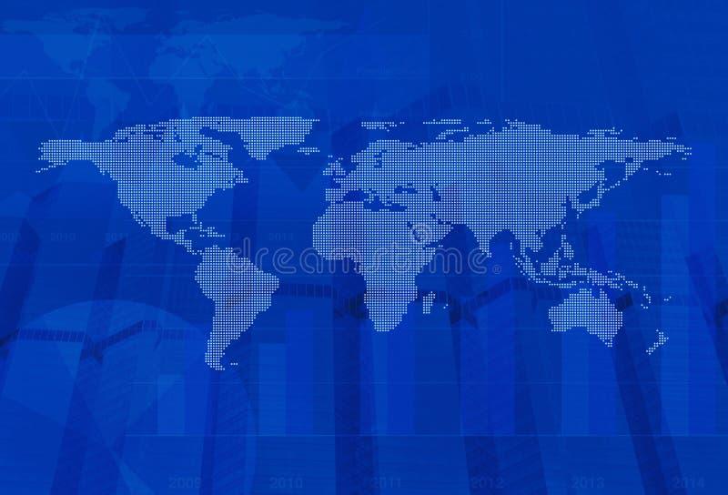 Mapa do mundo pontilhado sobre o fundo da cidade e do gráfico, tom azul, Glob ilustração do vetor