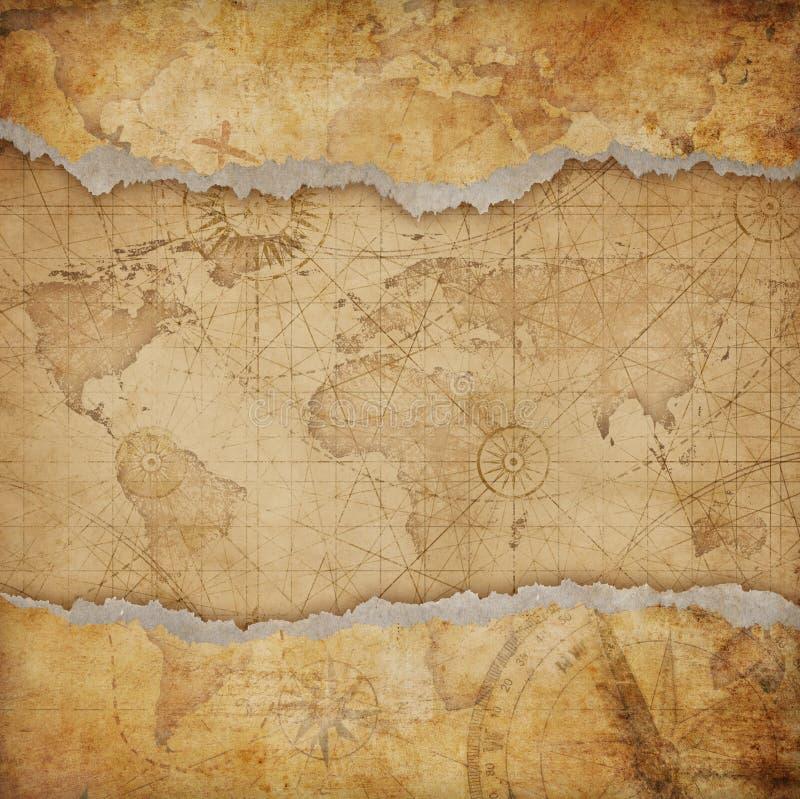 Mapa do mundo rasgado vintage imagem de stock royalty free