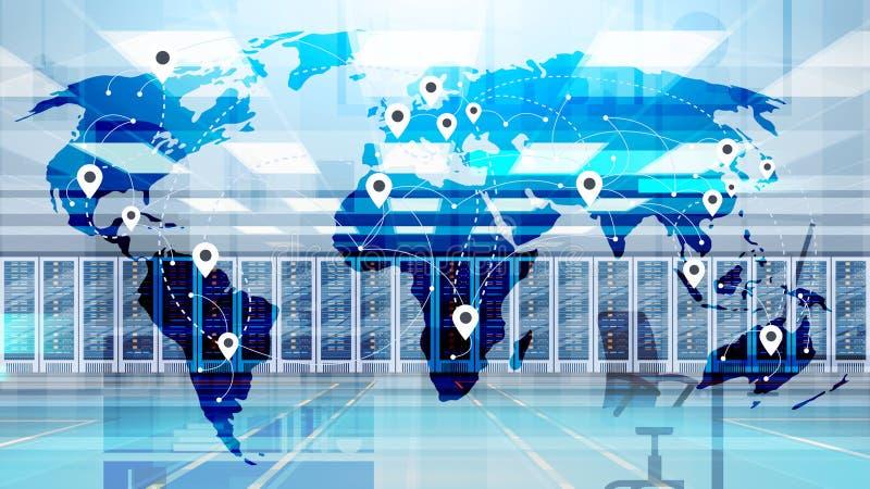 Mapa do mundo sobre o base de dados da informação do computador de servidor do acolhimento da sala do centro de dados ilustração royalty free