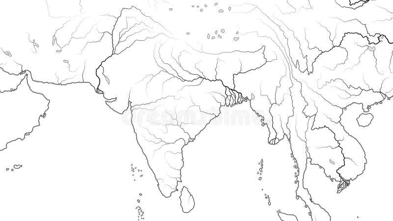 Mapa do mundo do SUBCONTINENTE da REGIÃO e da ÍNDIA de 3SUL DA ÁSIA: Paquistão, Índia, Himalayas, Bengal Carta geográfica ilustração do vetor