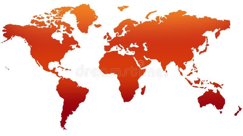 Mapa do mundo vermelho no fundo branco ilustração royalty free