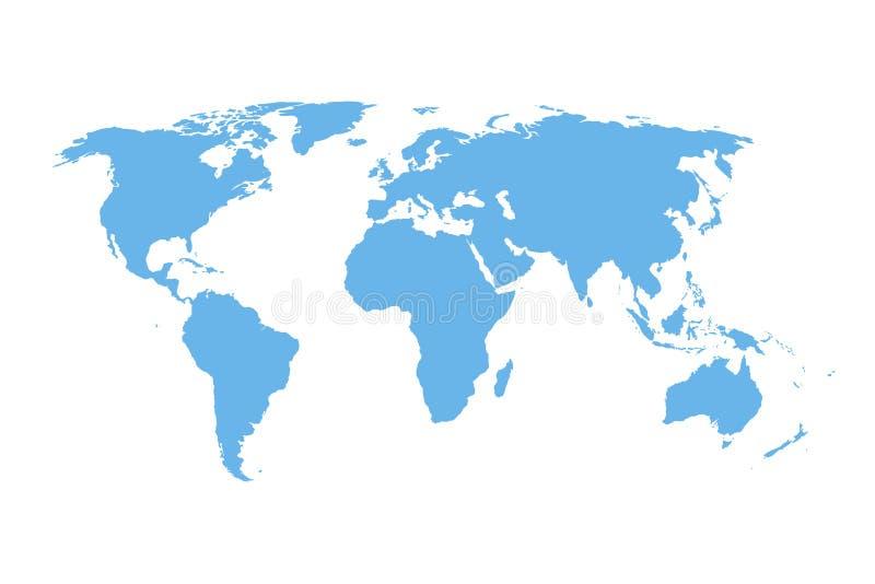 Mapa do mundo do vetor do detalhe - projeto isolado azul ilustração do vetor