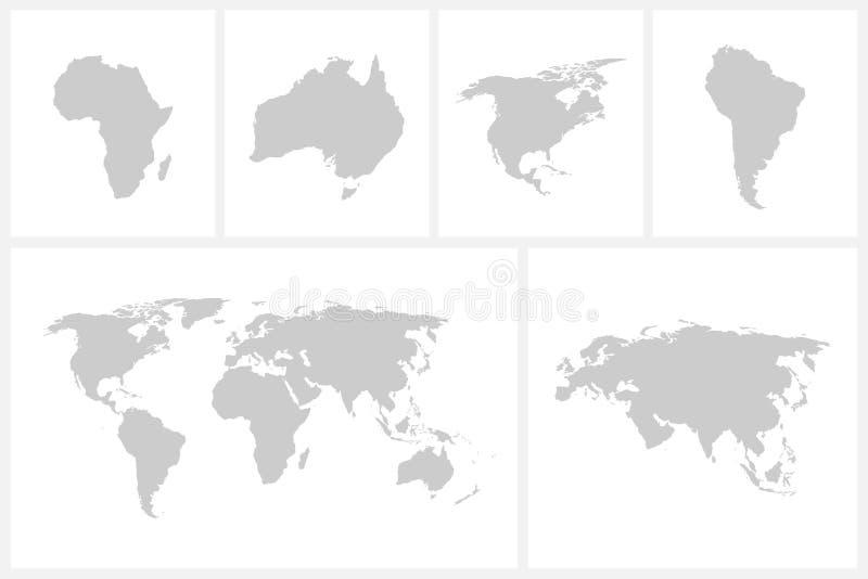 Mapa do mundo do vetor - projeto verde ilustração stock