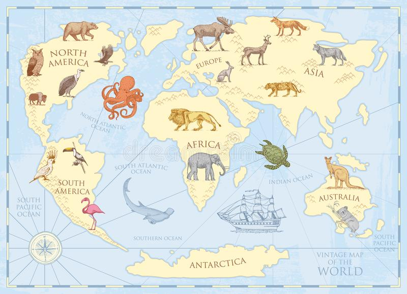 Mapa do mundo do vintage com animais selvagens e montanhas Criaturas do mar no oceano Pergaminho retro velho animais selvagens na ilustração royalty free