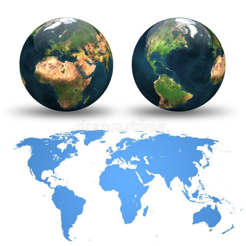 Mapa do mundo, vistas diferentes do globo e do detalhe ilustração stock