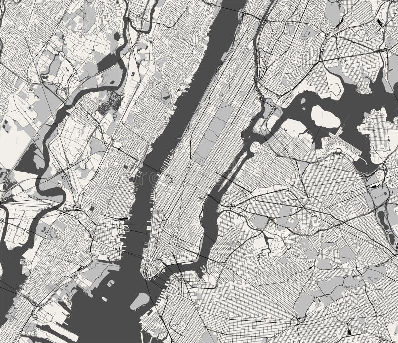 Mapa do New York City, NY, EUA ilustração do vetor