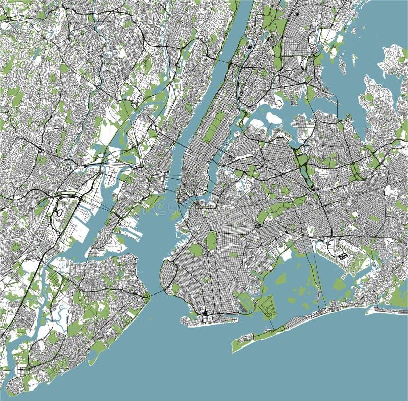 Mapa do New York City, NY, EUA ilustração stock