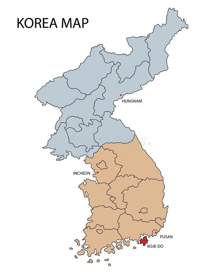 Mapa do Norte e Sul Coreia ilustração stock