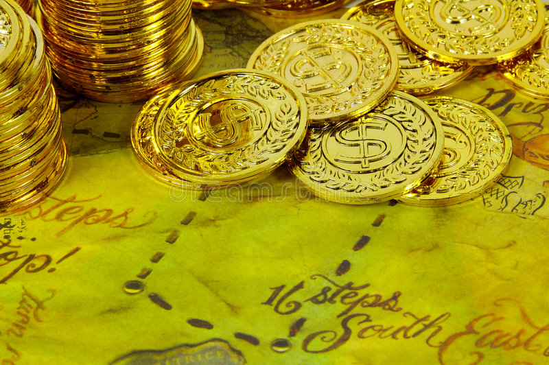 Download Mapa do ouro imagem de stock. Imagem de moedas, pepitas - 68663
