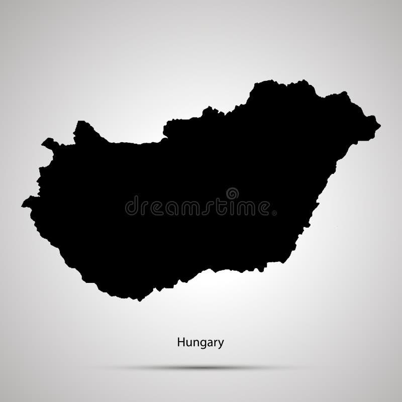 Mapa do país de Hungria, silhueta preta simples no cinza ilustração do vetor
