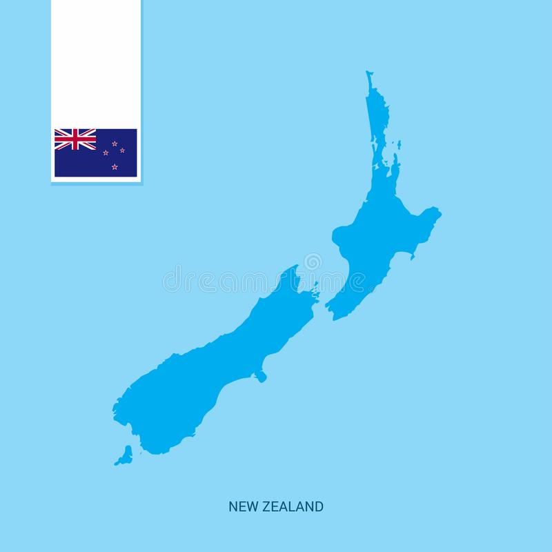 Mapa do país de Nova Zelândia com a bandeira sobre o fundo azul ilustração do vetor