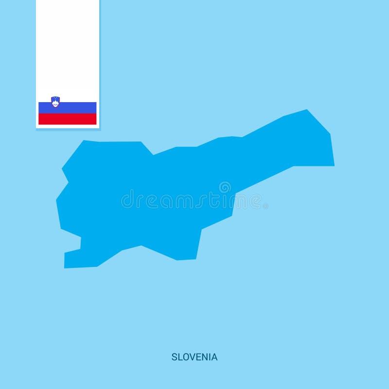 Mapa do país do Eslovênia com a bandeira sobre o fundo azul ilustração do vetor