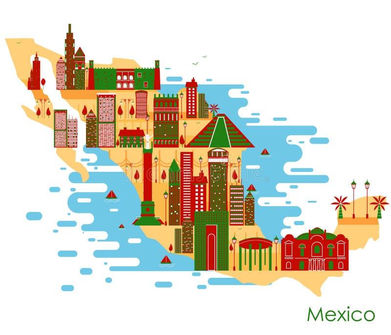 Mapa do país México com construção e o monumento famoso ilustração royalty free