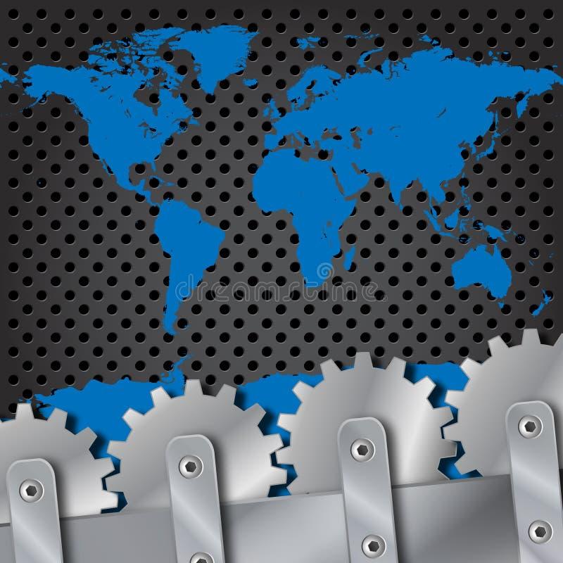 Mapa do parafuso da placa de metal e de mundo das engrenagens ilustração royalty free