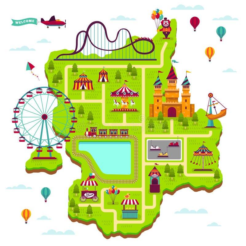 Mapa do parque de diversões O festival das atrações dos elementos do esquema diverte o mapa dos desenhos animados dos jogos da cr ilustração royalty free
