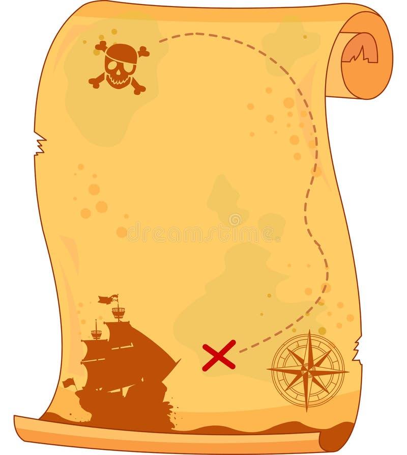 Mapa do pirata ilustração royalty free