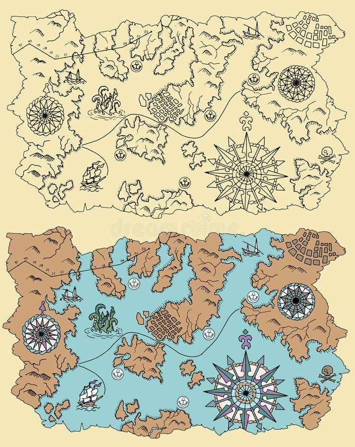Mapa do pirata de terras desconhecidas ilustração royalty free