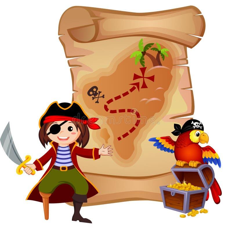 Mapa do pirata, do papagaio e do tesouro ilustração royalty free