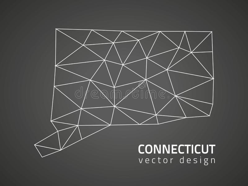 Mapa do polígono do triângulo do contorno do preto do vetor de Connecticut ilustração royalty free