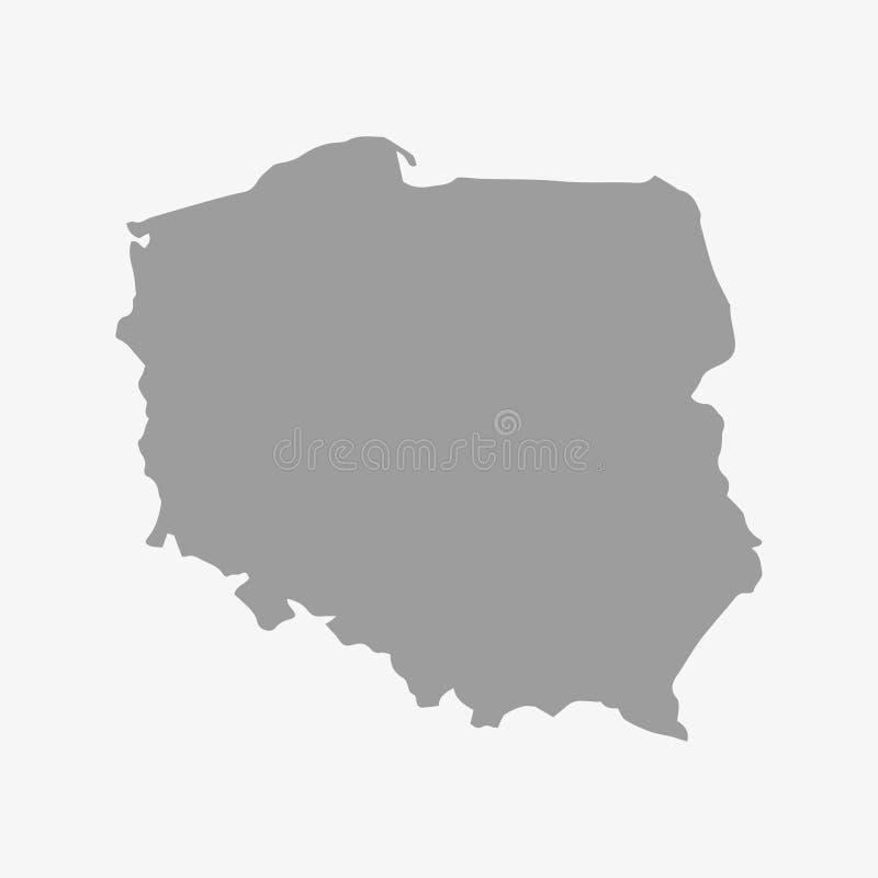 Mapa do Polônia no cinza em um fundo branco ilustração do vetor