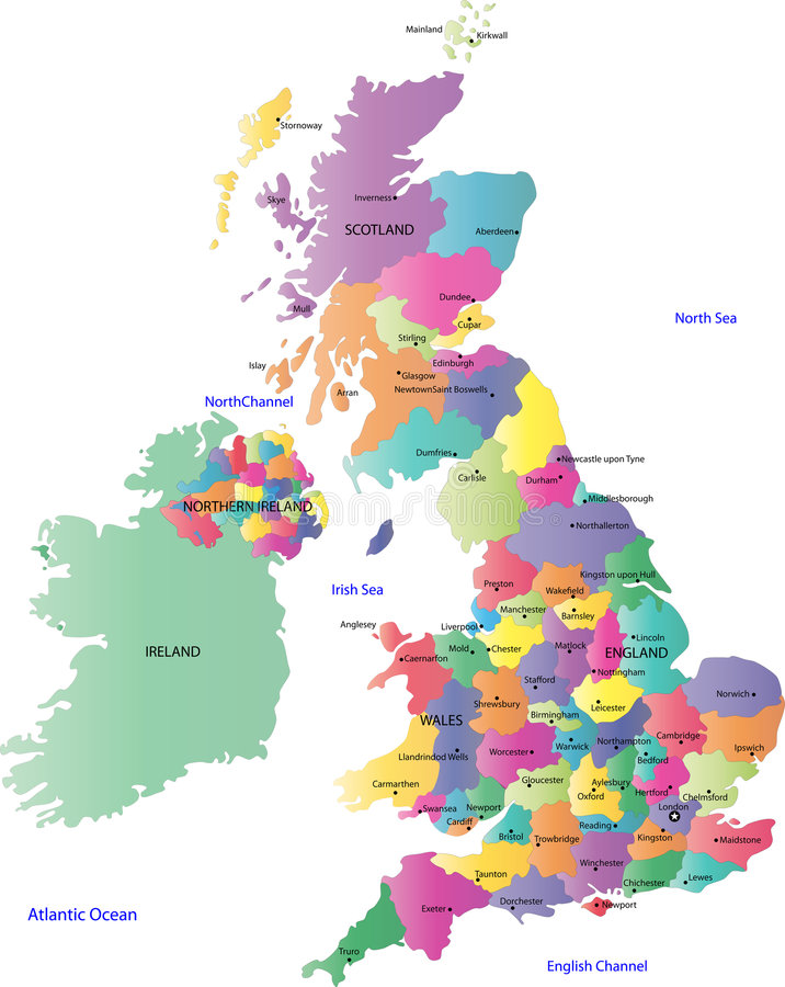 Mapa do Reino Unido e do Ireland ilustração royalty free