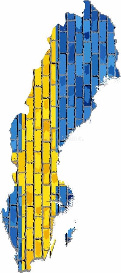 Mapa do sueco com bandeira para dentro ilustração royalty free