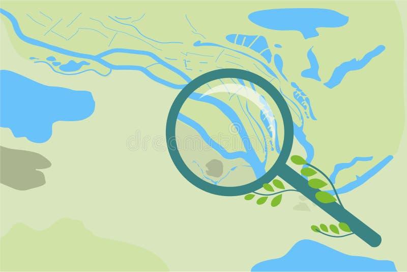 Mapa do sumário do vetor da área e uma lente de aumento com uma ampliação ilustração do vetor