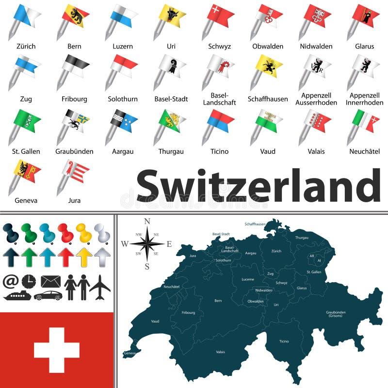 mapa do Szwajcarii ilustracji