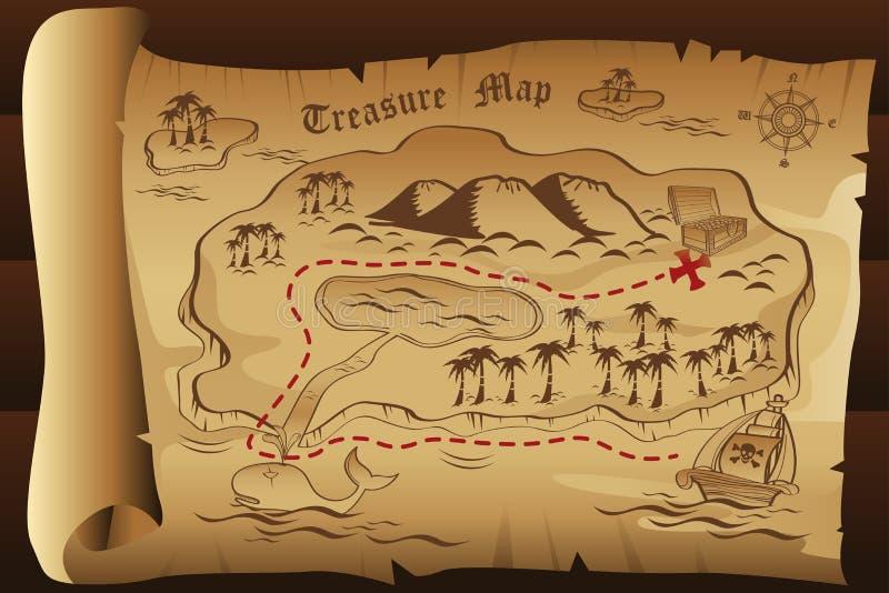 Mapa do tesouro ilustração royalty free