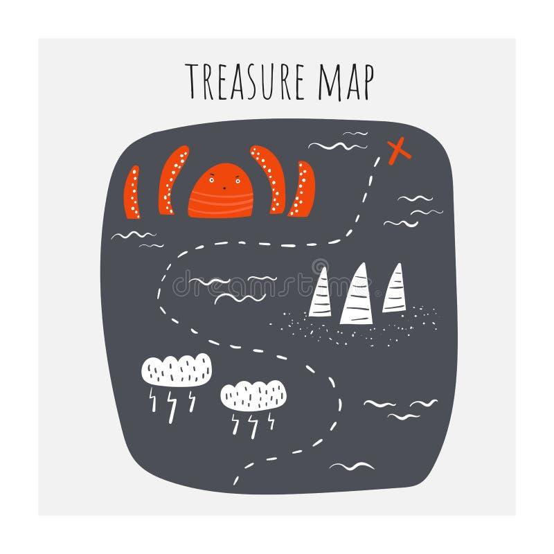 Mapa do tesouro com polvo, nuvens, tempestade, riff, rota de navio, ondas, oceano ilustração do vetor