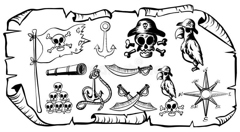 Mapa do tesouro com símbolos do pirata ilustração royalty free