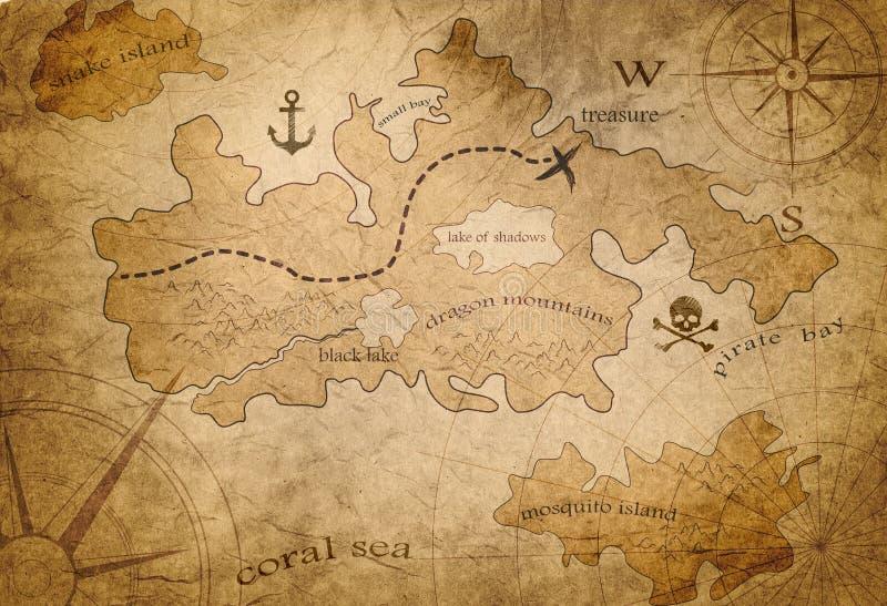 Mapa do tesouro do pirata ilustração royalty free