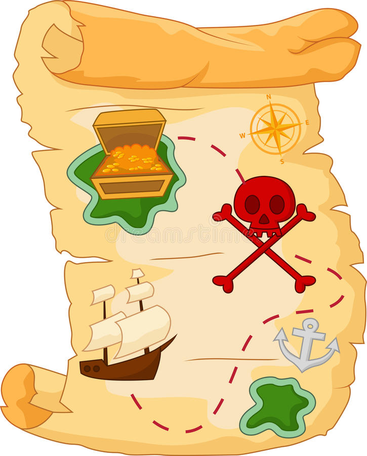 Mapa do tesouro dos desenhos animados ilustração royalty free