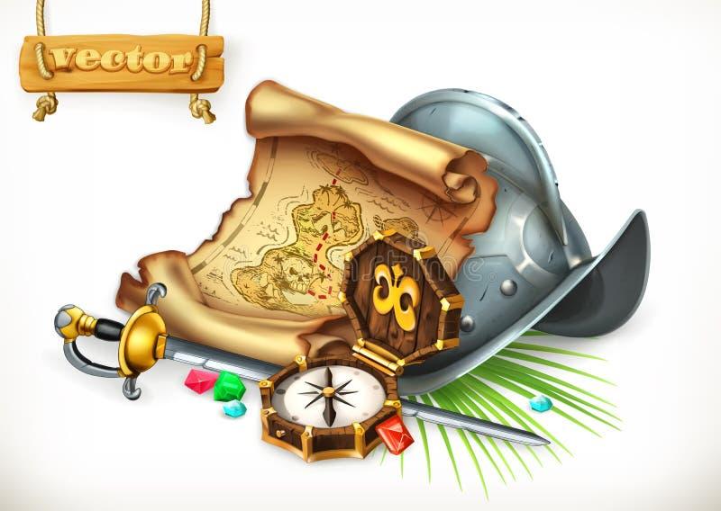 Mapa do tesouro e capacete velhos do conquistador Ilustração do vetor da aventura ilustração stock