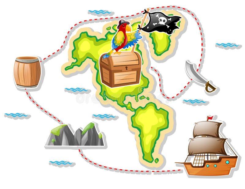 Mapa do tesouro e navio de pirata ilustração do vetor
