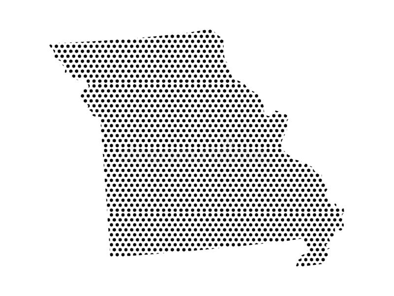 Mapa do teste padrão pontilhado do estado de E.U. de Missouri ilustração royalty free