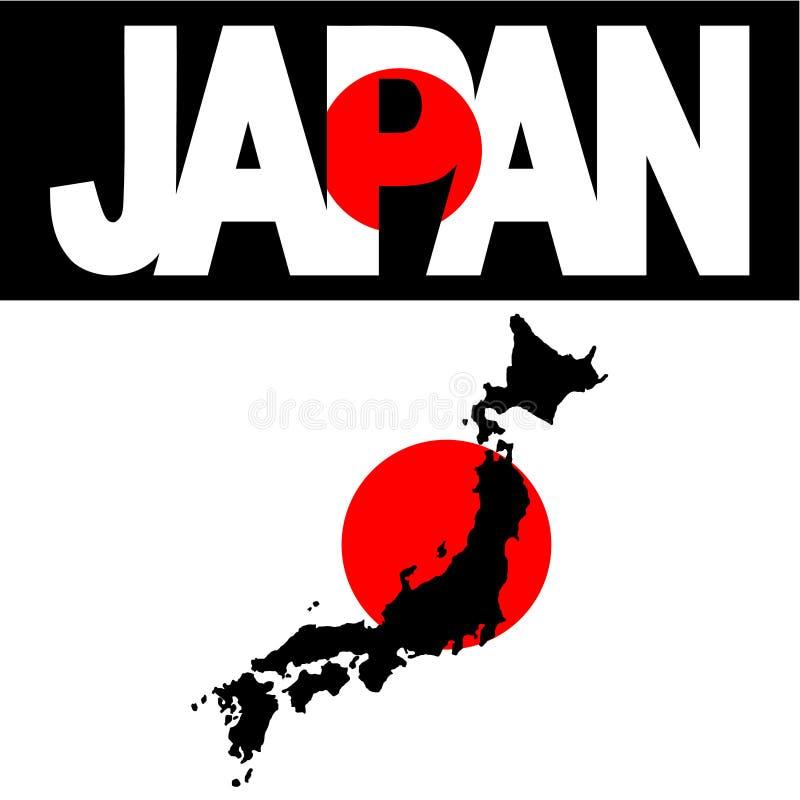 Mapa do texto de Japão e de bandeira ilustração do vetor