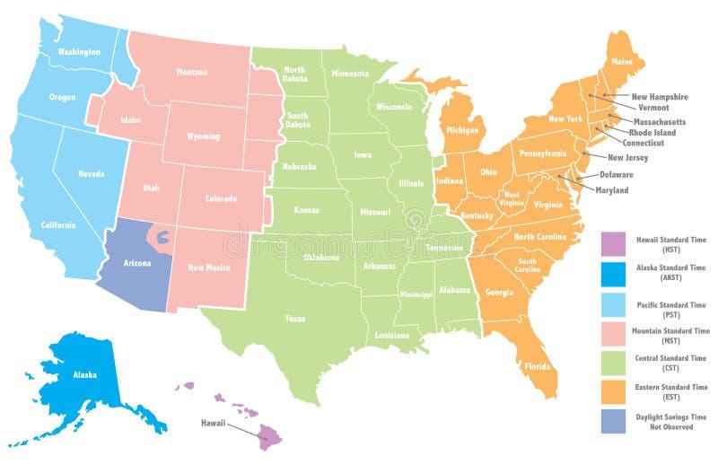 Mapa do Timezone de Estados Unidos ilustração stock