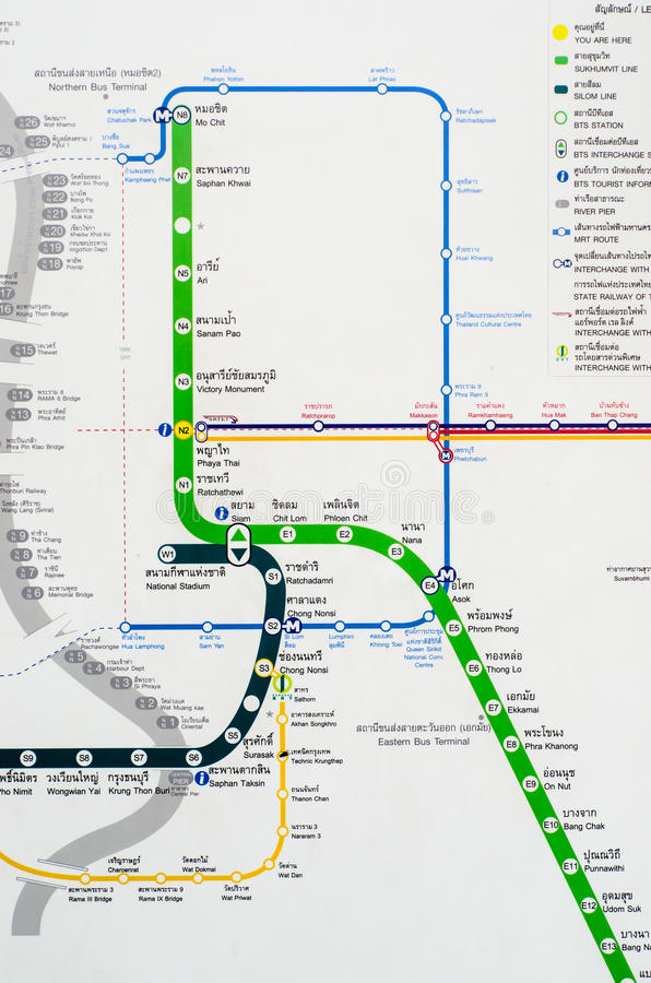 Mapa do trem de céu do BTS em Banguecoque. fotos de stock royalty free