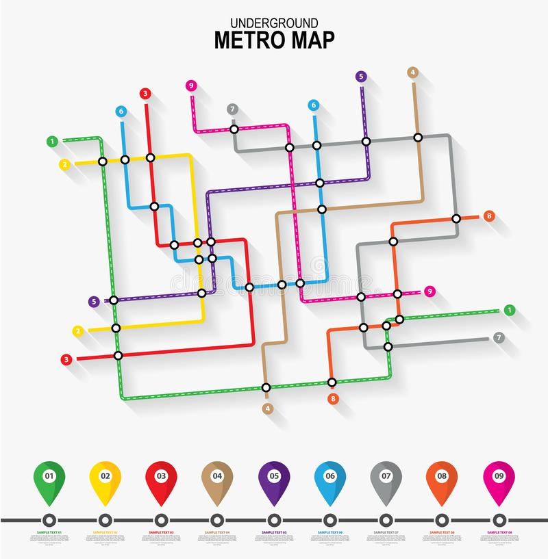 Mapa do tubo do metro Esquema do vetor do transporte da cidade ilustração do vetor
