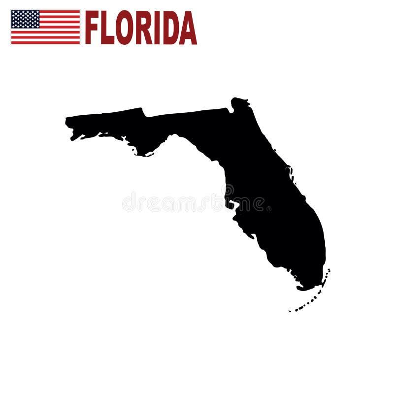 Mapa do U S estado da Flórida em um fundo branco ilustração royalty free