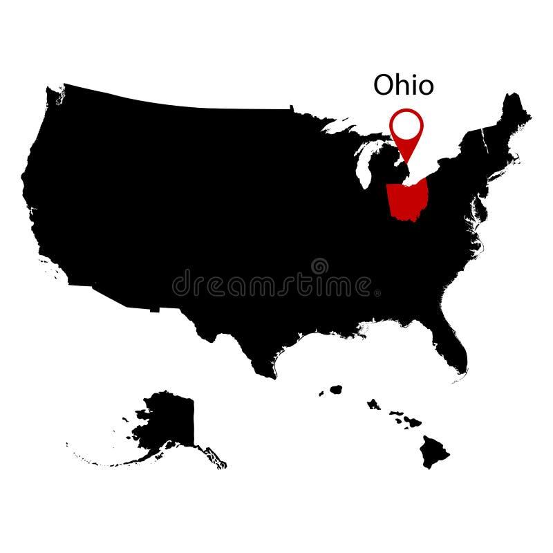 Mapa do U S Estado de Ohio ilustração stock