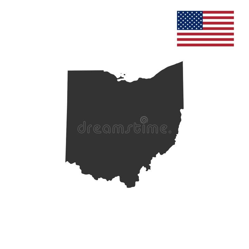 Mapa do U S Estado de Ohio ilustração do vetor