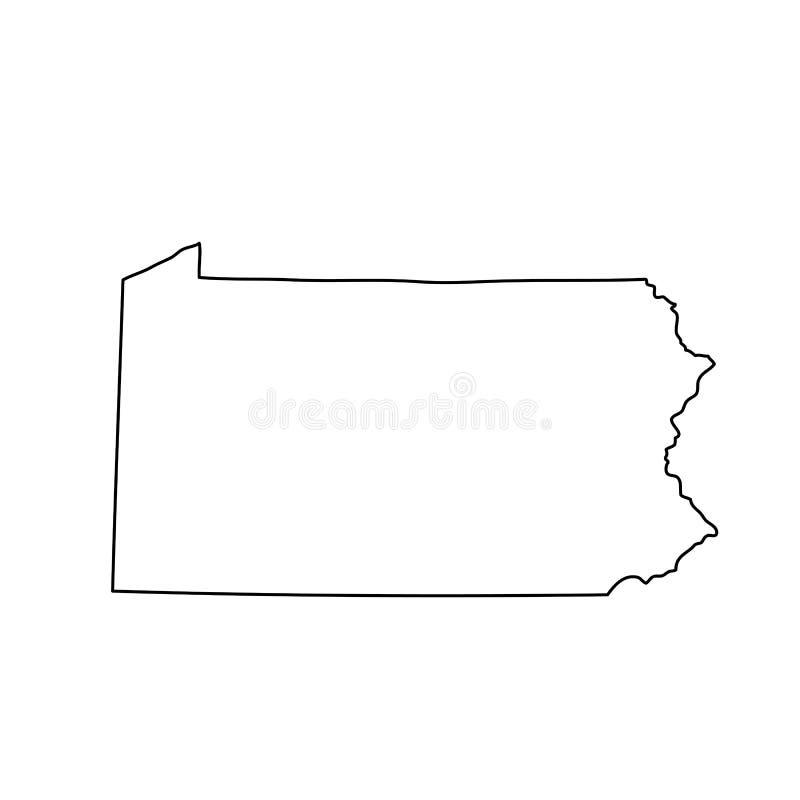 Mapa do U S Estado de Pensilvânia ilustração royalty free