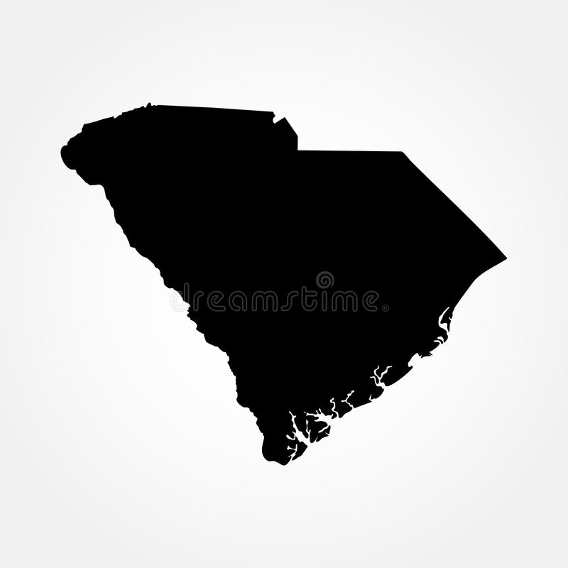 Mapa do U S Estado de South Carolina ilustração royalty free