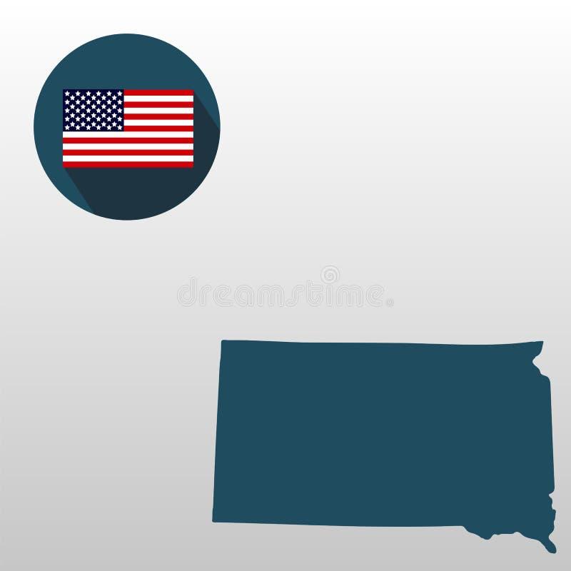 Mapa do U S estado de South Dakota em um fundo branco ame ilustração do vetor