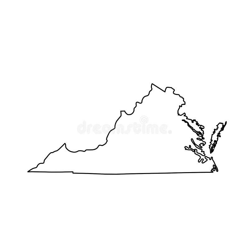 Mapa do U S Estado de Virgínia ilustração stock